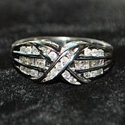 SALE 10K w/g Diamond Crossover Ring - 1980