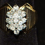 SALE 14K Diamond Pave Cluster Cocktail  Ring - 1960's
