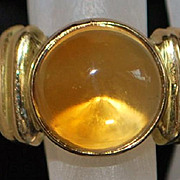 SALE 14K Large Citrine and Gold Fashion Ring - 1980's