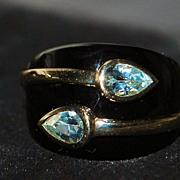 SALE 14K Aquamarine and Onyx Designer Lorenzo  Ring