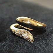 SALE 14K Pave Diamond and Gold By-pass Ring - 1980's