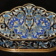 SALE French Napoleon III Enamel Table Snuff Box - 1880's