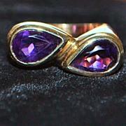 SALE 14K Amethyst By-pass Designer Fashion Ring, 1980's