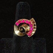 SALE 14K Large Retro Ruby Cocktail Ring, 1940's