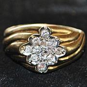 SALE 14K Pave Diamond Retro  Ring - 1960's
