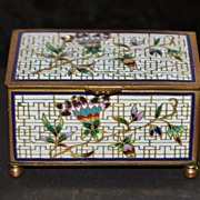 SALE French Cloisonne Enamel Table Snuff Box, c. 1890
