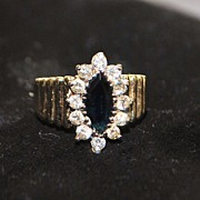 SALE 14K Marquise Sapphire and Diamond Ring, 1960's