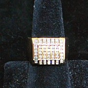 SALE 14K Large Man's Diamond Channel Ring -1980's