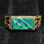 SALE 14K Large Man's Custom Opal Ring, 1960's