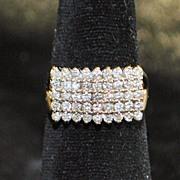 SALE 14K Pave Diamond Pyramid Ring, 1960's