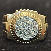 SALE 14K Large Man's Pave Diamond  Ring - 1980's
