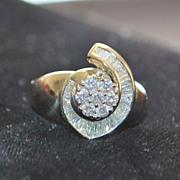 SALE 14K Custom Pave Diamond Ring - 1980's