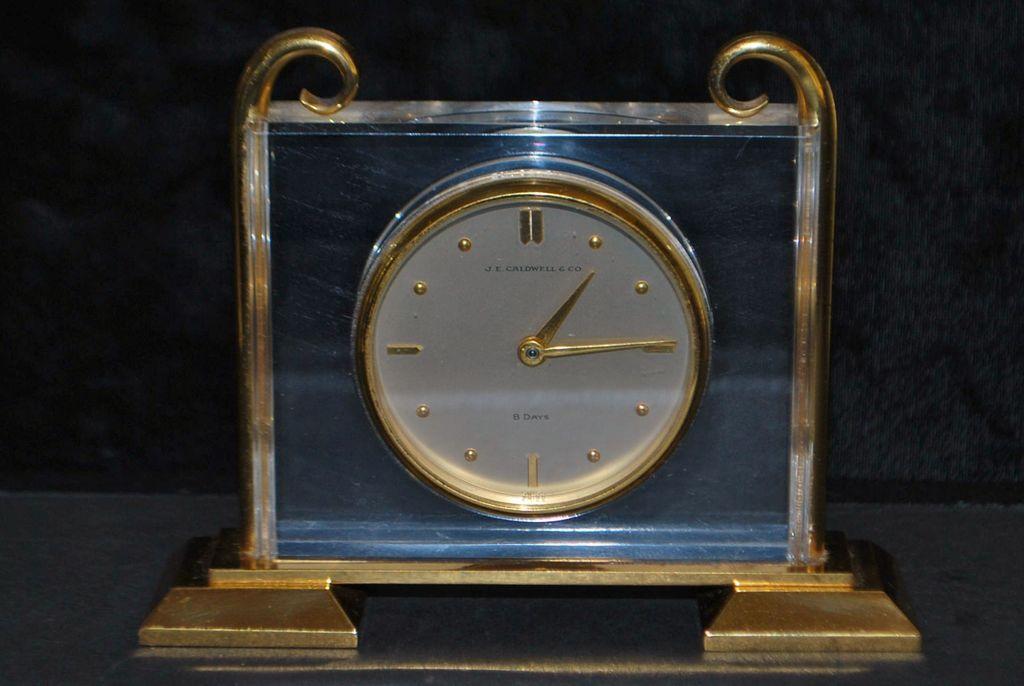 J. E. Caldwell & Co. Gild Brass Table Clock,. c.1950