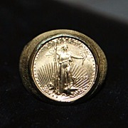 14KP $5.00 Gold Coin Ring,