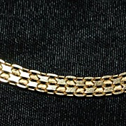 14K Italian Gold Flat Link Necklace, 1960's