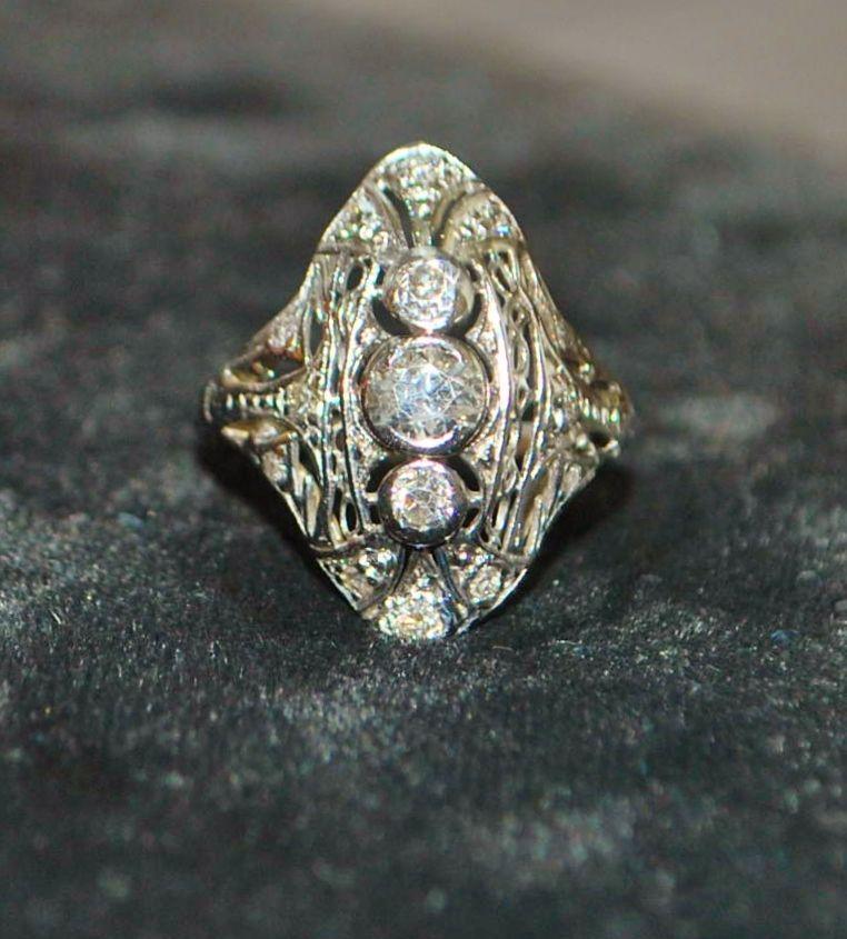 Platinum Edwardian Diamond Filigree Dinner Ring, c. 1900