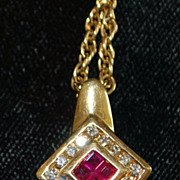 14K Ruby and Diamond Pendant with Gold Chain - 1980's