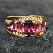 14K Pink and Red Tourmaline Ring