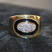 18K Pave Diamond and Black Enamel Ring, 1970's