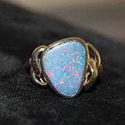 14K Custom Black Opal Ring