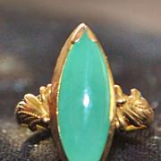 18K Apple Green Jade Ring, 1960's