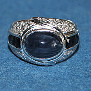 SALE 18K w/g 5ct Sapphire and Pave Diamond Ring
