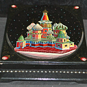 Russian Lacquer Box of St. Basil's Cathedral Moscow