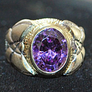 14K Two Tone Amethyst  Dress Ring