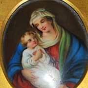 """German Hp Porcelain Painting of the """"Madonna and Child"""",1880's"""