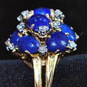 SALE 18K Large Lapis Lazuli and Diamond Cocktail Ring
