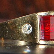 14K Large Ruby Dome and Diamond Man's Ring