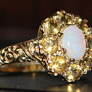English Fancy 9K Opal and Citrine Ring - 1962
