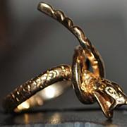 14K Large Custom Coiled Snake Ring