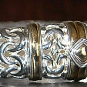 14K / Sterling Fancy Link Bangle Bracelet