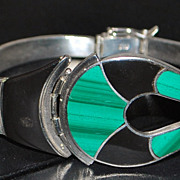 Custom 980 Silver Malachite and Onyx Bracelet