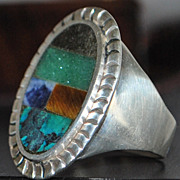 Large Man's Sterling Silver Inlaid Stone Ring,c. 1980