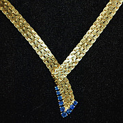 SALE Fine 18K Gold Necklace with Blue Sapphires - Custom