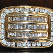 SALE 14K Man's 2ct Diamond Ring - 1980's