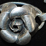 Lang Sterling Silver Rose Necklace - 1950's