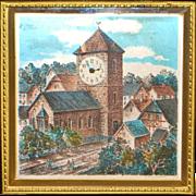 "German ""Village Scene"" Brass Table Clock - 1920's"