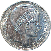 SOLD French Art Deco 20 Francs Large Silver Coin - 1938