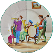Colorful German Saxe HP Playing Band Plate, c. 1900