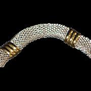 Italian Two Tone Sterling Silver Mesh Bracelet - 1980's