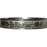 Fine Engraved Sterling Silver Hard Bangle - 1980's