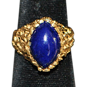 14k Lapis Open Work Nugget Style Ring - 1980's