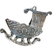 German Hanau 800 Silver Miniature Cradle - 1890