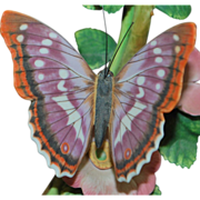 "Lenox Porcelain ""Purple Emperor"" Butterfly and Floral  Sculpture"