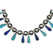 Sterling Silver Lapis and Turquoise Necklace - 1980's