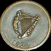 Half Penny Token - Canada - Irish Harp - King - 1820