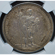 Large Swiss Silver Five Francs Coin - 1879 - AU55 - Slabbed